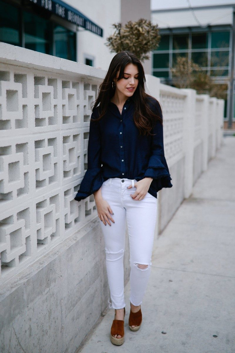 Spring Essentials Already in Your Closet/Never Without Lipstick/White jean outfit, bell sleeve blouse