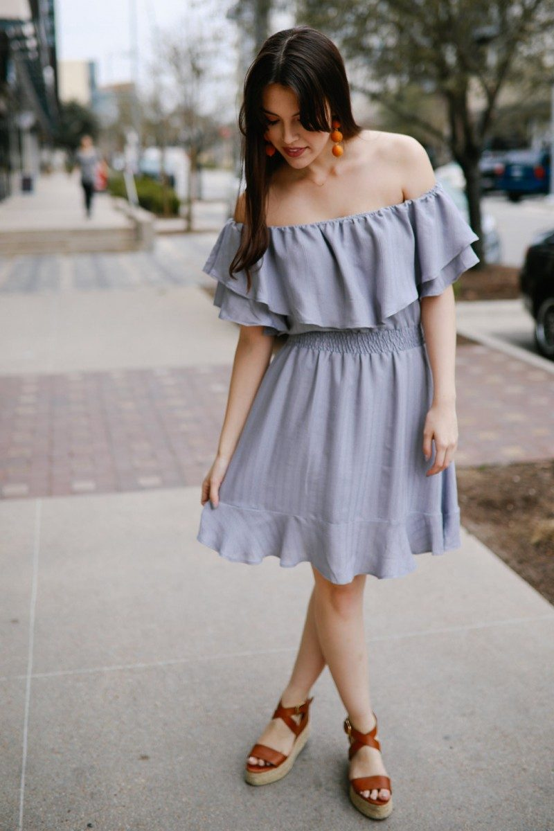 Spring Essentials Already in Your Closet/Never Without Lipstick/Off shoulder dress, ruffle dress