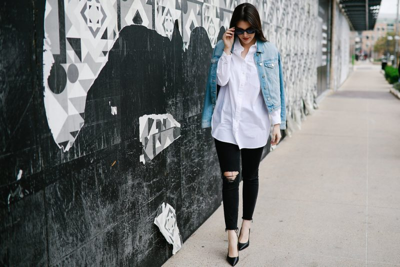 Weekend Shopping Guide/Never Without Lipstick/Gucci disco mini, jean jacket outfit, white button down, black distressed jeans outfit