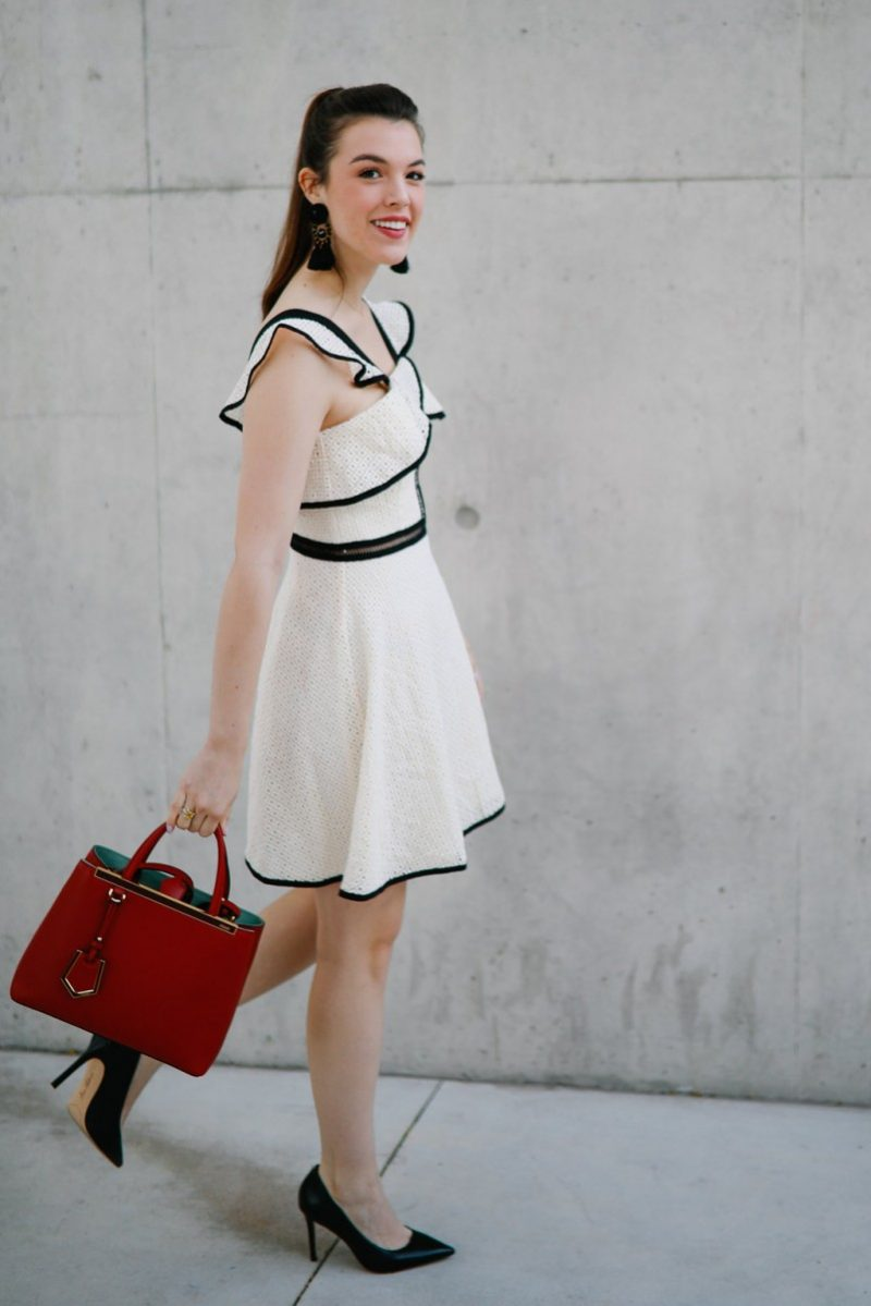Graduation Outfit/Never WIthout Lipstick/graduation dress, what to wear to graduation, summer fashion, summer styles, cream and black dress, Fendi Petit 2jours