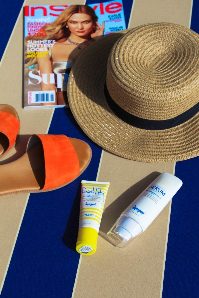 Summer Sun Protection Guide/Never Without Lipstick/sunscreen, sun protection, how to apply sunscreen, best sunscreen, supergoop, best supergoop products, supergoop reviews, sun safety, beachwear, beach prep, beach outfits, beach bag essentials