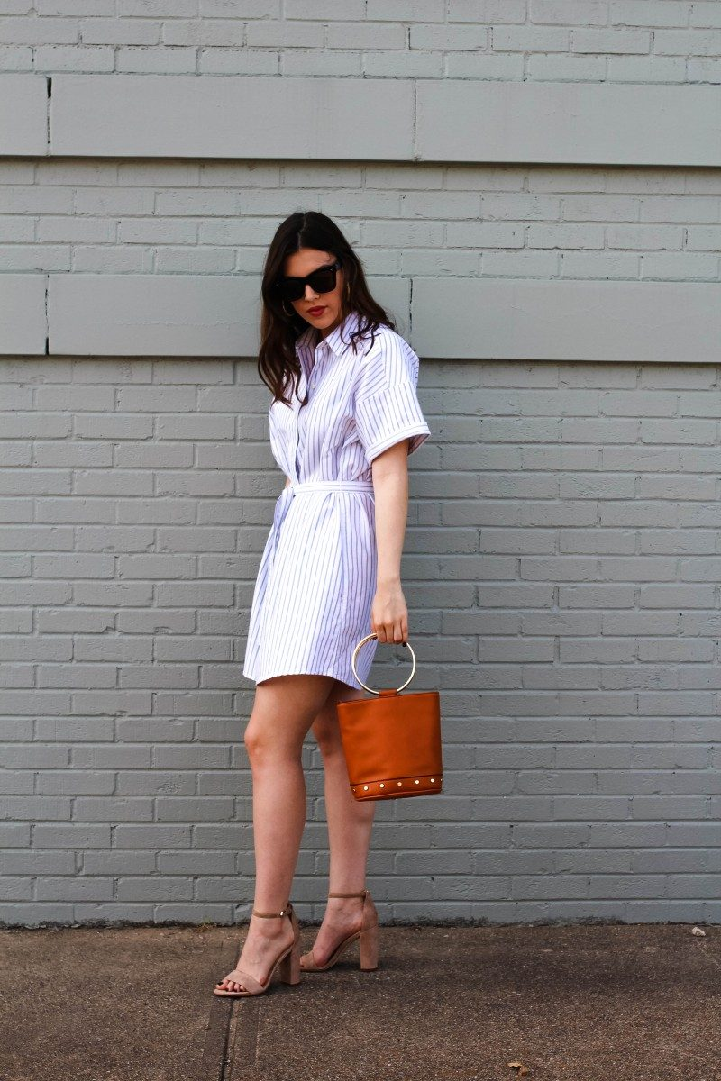 Shirtdress/Never Without Lipstick/shirtdress, shirtdress outfit, shirtdress outfit summer, striped shirtdress, summer outfits, womens fashion, outfit inspiration