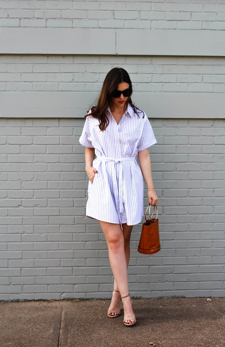 Shirtdress/Never Without Lipstick/shirtdress, shirtdress outfit, shirtdress outfit summer, striped shirtdress, summer outfits, womens fashion, outfit inspiration, circle ring purse