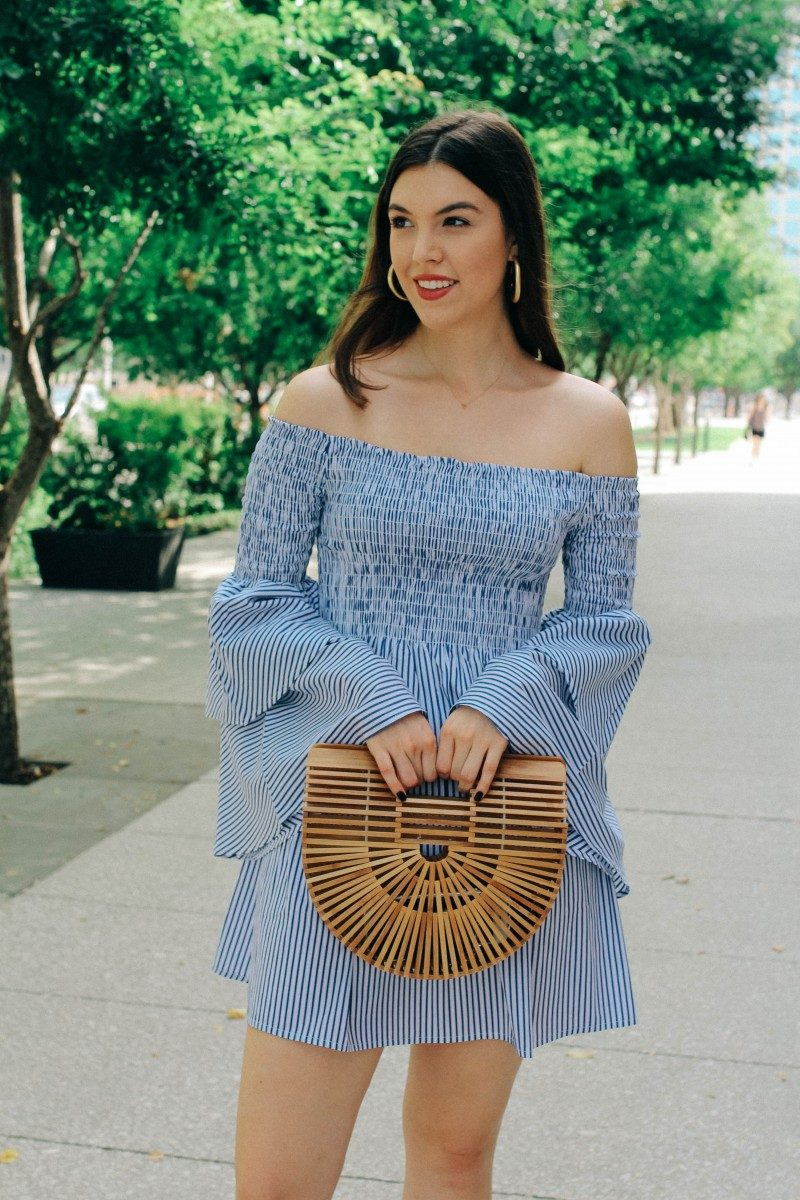 Summer Neutrals/Never Without Lipstick/striped dress, summer stripes, summer ootd, summer fashion 2017, summer outfits, tiered sleeves, goodnight macaroon, goodnight macaroon dress, cult gaia ark bag, cult gaia bag knockoff, cult gaia ark dupe, daniel wellington, classic petite bondi, mules, mule outfit, coral mules