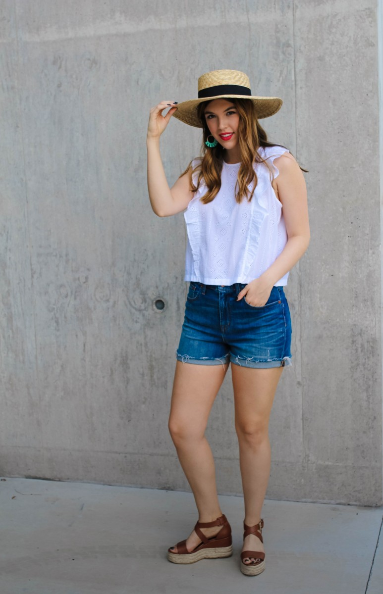 Most Flattering Jean Shorts/Never Without Lipstick/madewell jean shorts, madewell denim, jean shorts, jean shorts summer, jean shorts outfit, jeans shorts casual, eyelet, eyelet top | Most Flattering Jean Shorts featured by top US fashion blog, Never Without Lipstick: image of a woman wearing a Madewell eyelet top, Madewell cut off jeans, Sole Society espadrille wedges, Zappos boater hat and Gresham jewelry