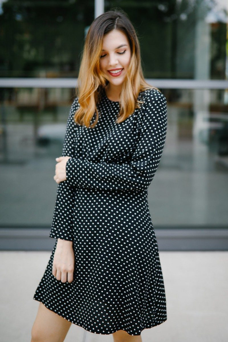 Lifestyle blogger wears a polka dot dress for her 23rd birthday | birthday post, get to know me, valentino rockstud pump, polka dot dress, dress outfit, outfit idea, fall fashion, fall outfit idea