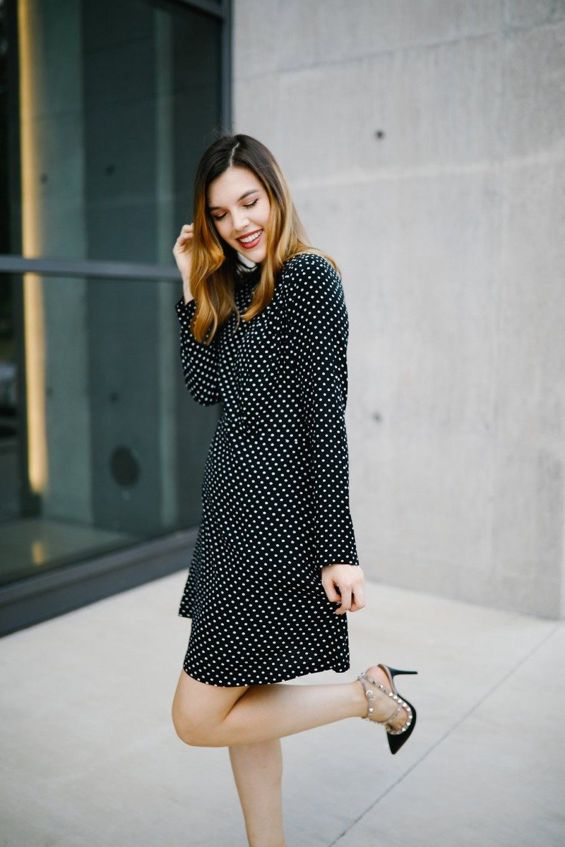 Lifestyle blogger wears a polka dot dress for her 23rd birthday   birthday post, get to know me, valentino rockstud pump, polka dot dress, dress outfit, outfit idea, fall fashion, fall outfit idea