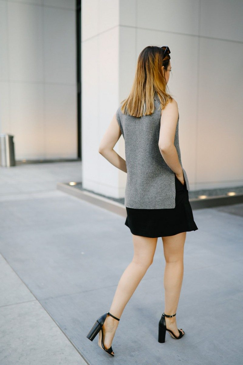 Style blogger Ashley Deatherage shares her first outfit in a series of fall workwear outfits | Never Without Lipstick | office workwear, corporate workwear, casual workwear, desk to drinks outfit, desk to dinner outfit, fall outfit idea, fall workwear outfit, fall workwear, work wardrobe, turtleneck outfit, sleeveless turtleneck