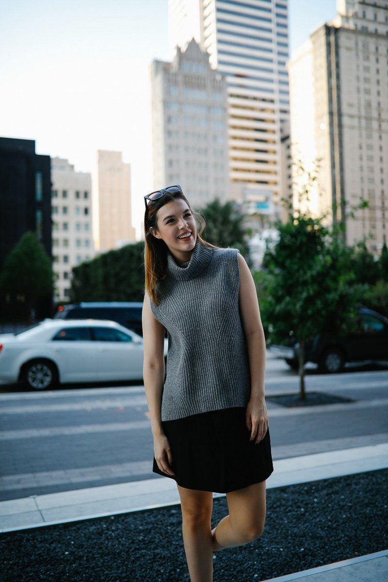 Style blogger Ashley Deatherage shares her third outfit in a series of fall workwear outfits   Never Without Lipstick   office workwear, corporate workwear, casual workwear, desk to drinks outfit, desk to dinner outfit, fall outfit idea, fall workwear outfit, fall workwear, work wardrobe, turtleneck outfit, sleeveless turtleneck