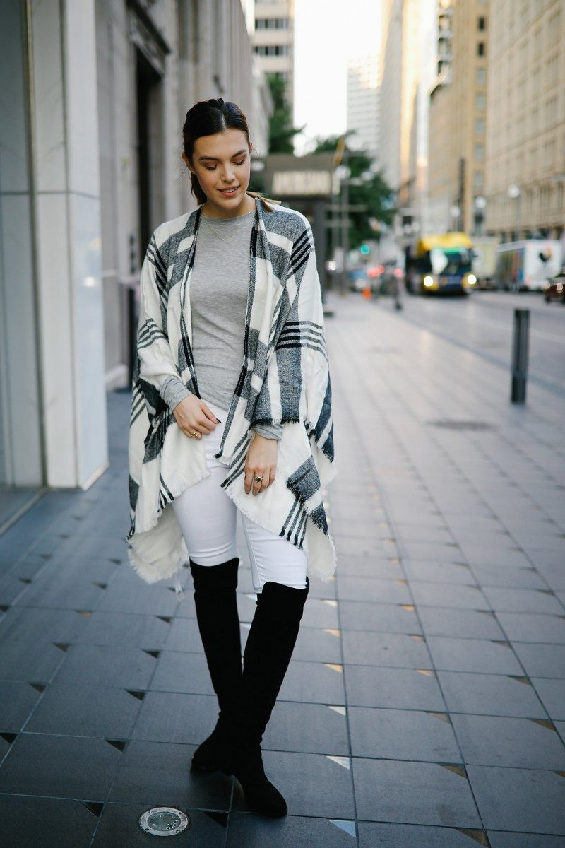 Style blogger Ashley of Never Without Lipstick shares 3 ways to wear white jeans in fall | white jeans outfit, white jeans outfit fall, stuart weitzman 5050, white jeans outfit autumn, white jeans outfit winter, outfit idea, womens outfit, womens fashion, poncho outfit