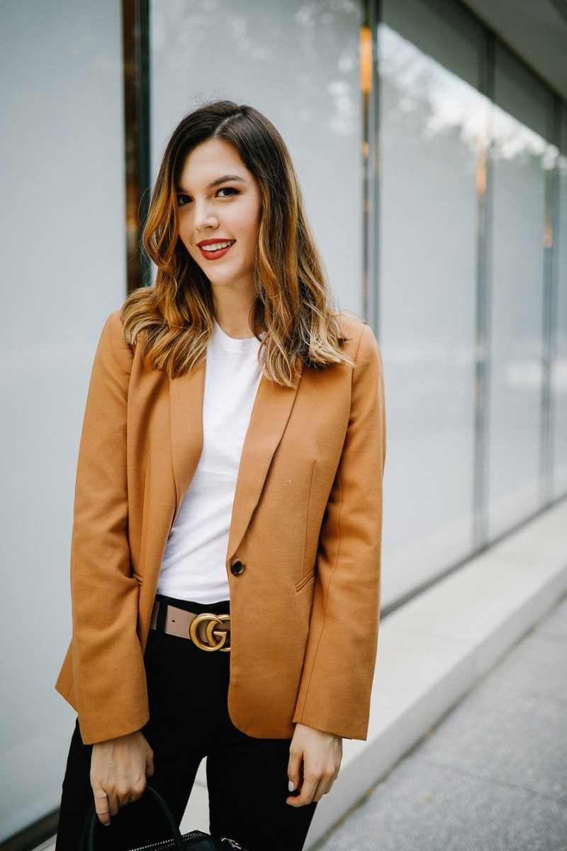 Style blogger Ashley Deatherage shares her first outfit in a series of fall workwear outfits | Never Without Lipstick | office workwear, corporate workwear, casual workwear, desk to drinks outfit, desk to dinner outfit, fall outfit idea, fall workwear outfit, fall workwear, work wardrobe, blazer outfit, camel blazer, givenchy antigona