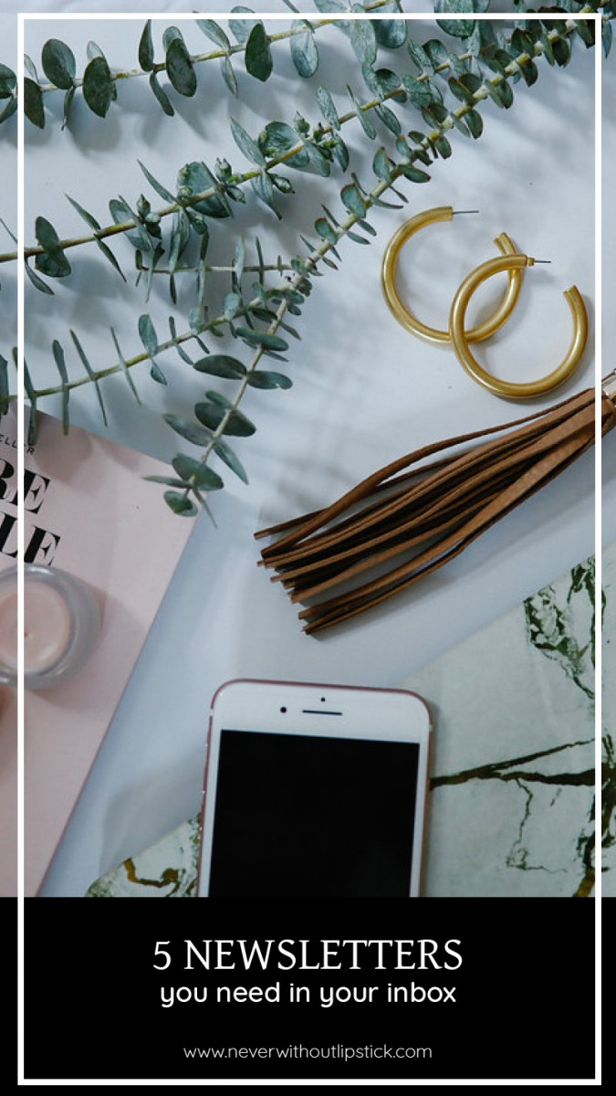 Lifestyle blogger, Ashley Deatherage of Never Without Lipstick, shares 6 email newsletters for women that deserve a spot in your inbox   Never Without Lipstick   dallas blog, lifestyle blog, style blogger, healthy lifestyle, lifestyle inspiration, flatlay photography