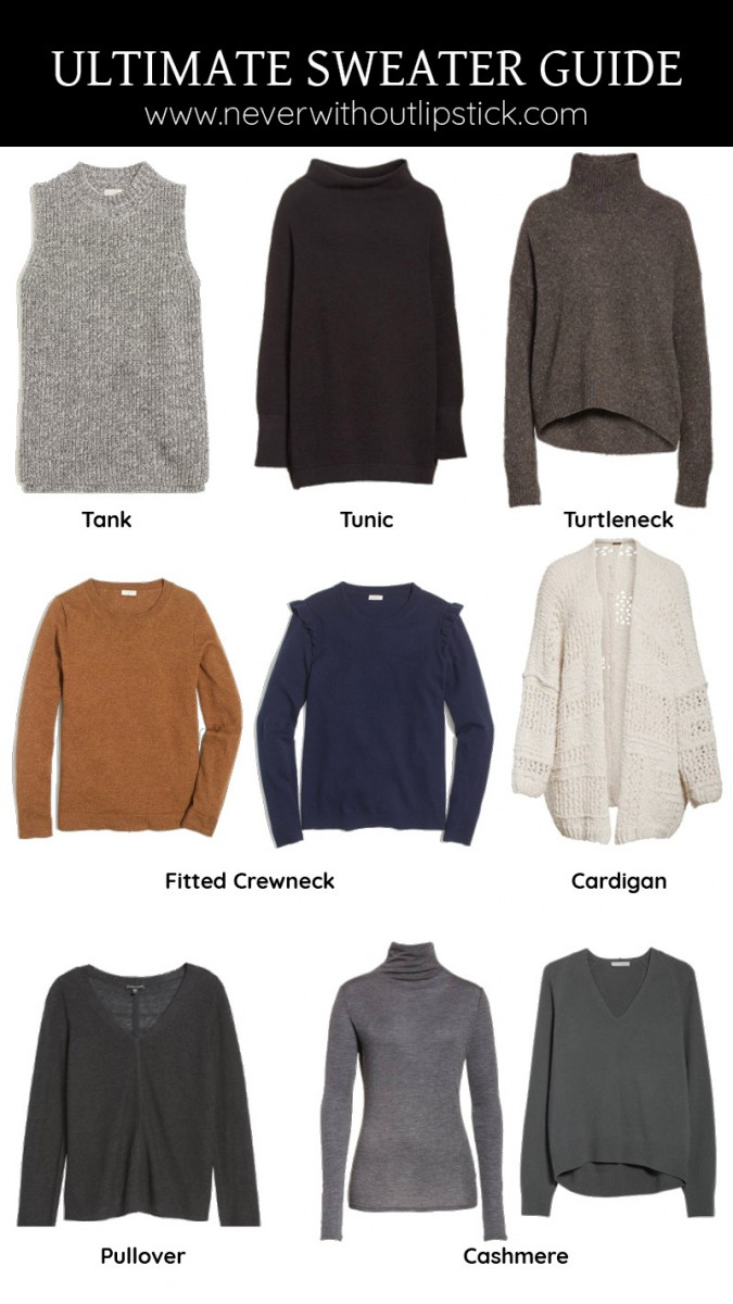 Style blogger Ashley Deatherage shares the essential sweaters you need in her sweater shopping guide | Never Without Lipstick | sweaters for fall, sweater outfit, sweaters for women, cardigans, cashmere sweater, sweaters for winter