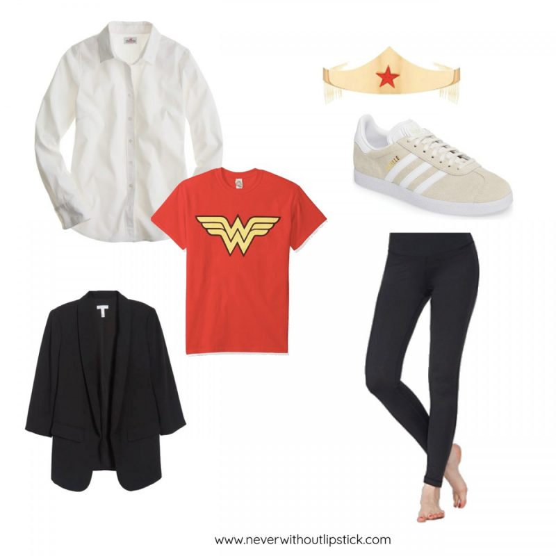 Style blogger Ashley Deatherage of Never Without Lipstick shares 3 easy, office appropriate Halloween costume ideas | halloween costumes, diy halloween costumes, halloween costumes for work, easy halloween costumes, halloween costumes for women, wonder woman costume