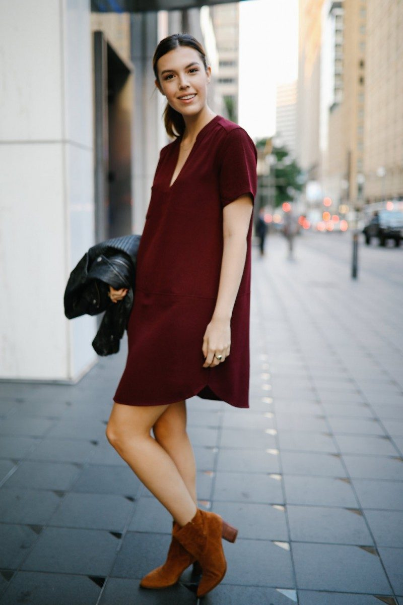 Style blogger Ashley of Never Without Lipstick wears three warm weather fall outfits | fall outfits warm weather, fall outfit layers, casual fall outfits warm weather, fall outfit, casual fall outfit, burgundy dress