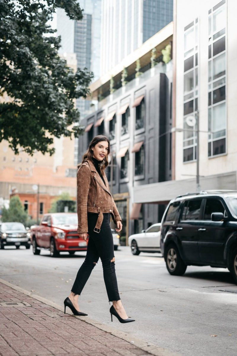 Style blogger Ashley of the Dallas style blog, Never Without Lipstick, shares her top 5 fall investment pieces | investment pieces wardrobe, suede jacket, suede moto jacket, moto jacket outfit, suede jacket outfit, small gucci belt, pointy toe heels, turtleneck outfit fall, turtleneck outfit winter  | Top 5 Fall Fashion Investment Pieces featured by top Dallas fashion blog, Never Without Lipstick