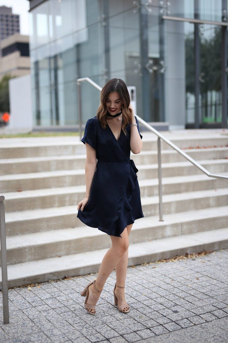 holiday party dresses | affordable holiday party dresses | holiday party dresses under 50 | holiday party outfit | holiday party outfit idea | wrap dress | navy dress | holiday party dress Christmas | holiday party dress work | 6 Cute Holiday Party Dresses under $55 featured by top Dallas fashion blog Never Without Lipstick