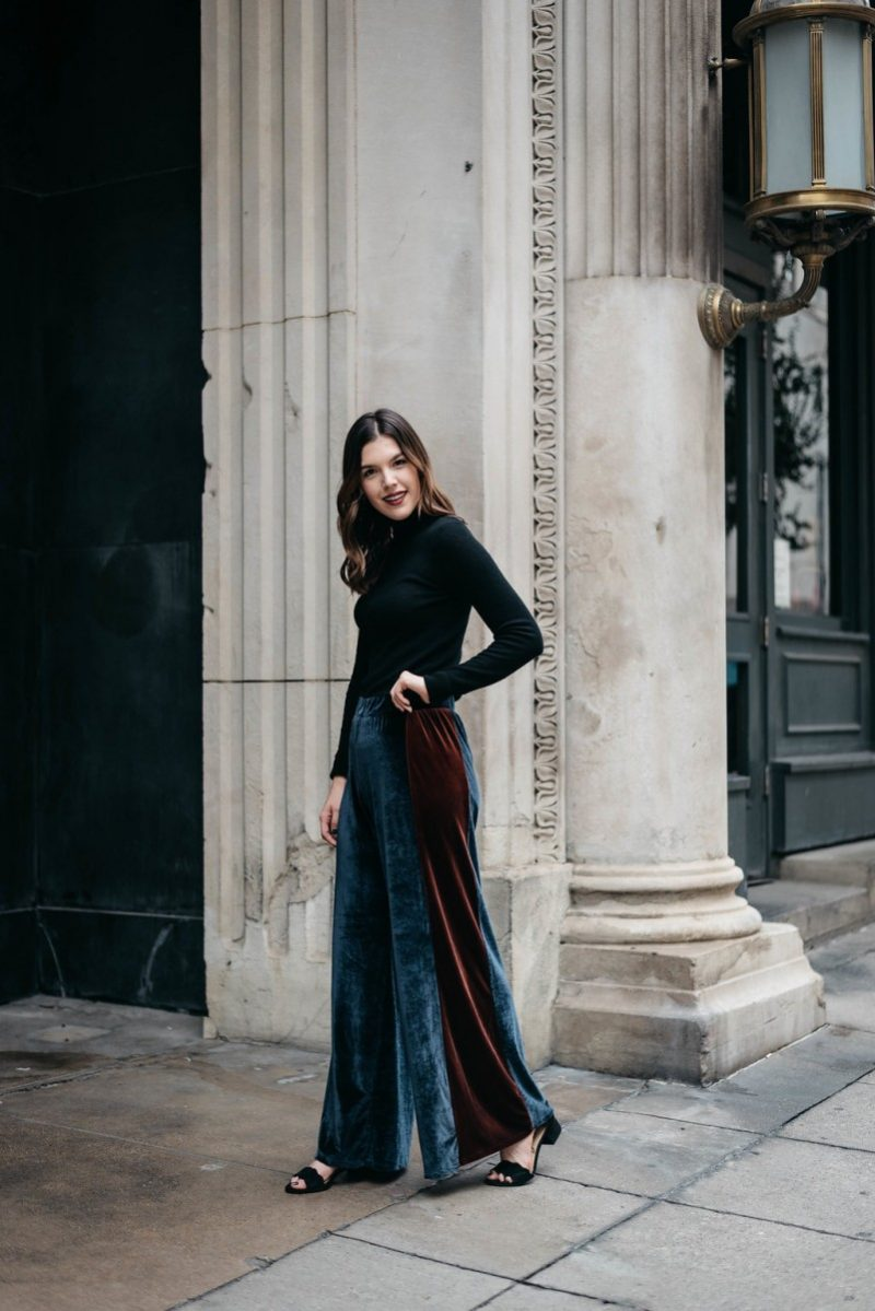 Style blogger Ashley of Never Without Lipstick wears wide leg velvet pants and a cashmere turtleneck outfit   office holiday outfit, casual holiday party outfit, office holiday party outfit, wide leg velvet pants, turtleneck outfit, casual office holiday party outfit, winter outfit - Casual Holiday Party Outfit for the Office featured by top Dallas fashion blog, Never Without Lipstick
