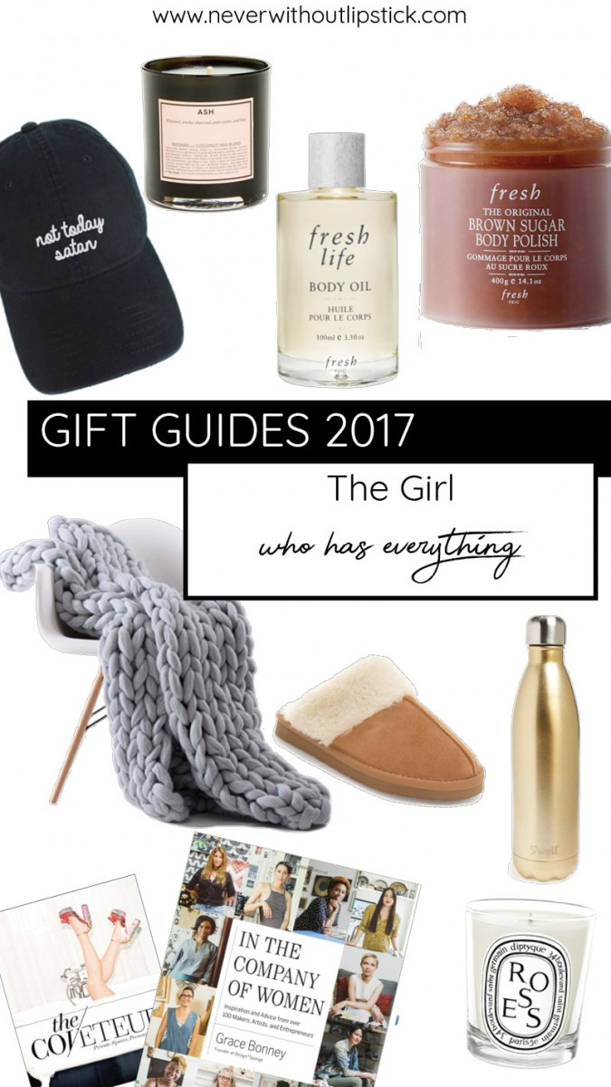 Style blogger Ashley of Never Without Lipsticks shares a gift guide for the girl that's hardest to shop for on your list | gift guide, christmas gift ideas, hard to shop for gift ideas, gift guide 2017, gift ideas for her, gifts for her, best friend gifts, home decor gifts