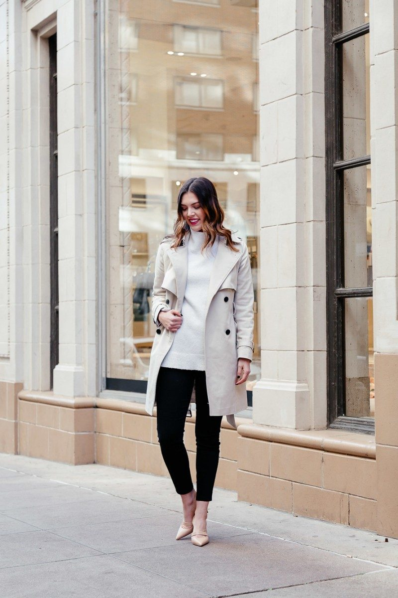 Popular Dallas style blogger Never Without Lipstick wears a cream turtleneck sweater and Club Monaco trench coat for a winter neutrals outfit | winter outfit, trench coat outfit, neutrals outfit, chic office style, louboutin pump, louboutin actina pump  | Top Dallas fashion blog, Never Without Lipstick features some Neutral Outfits perfect for Winter.