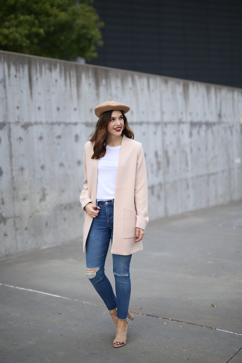 Style blogger, Ashley Deatherage, of Never Without Lipstick wears beret, pink coat, light wash denim outfit | update your style, style tips, beret outfit, pink coat, winter outfit, chic workwear outfit - 5 Wardrobe Essentials to Update Your Style for 2018 by popular Dallas style blogger Never Without Lipstick