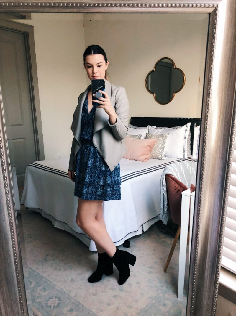 summer to fall transition outfits, fall outfit ideas, casual fall outfit, fall transition outfits, fall transition outfits for work | Summer to Fall Outfits featured by popular Dallas fashion blogger, Never Without Lipstick: Summer Dress, Leather Jacket & Booties