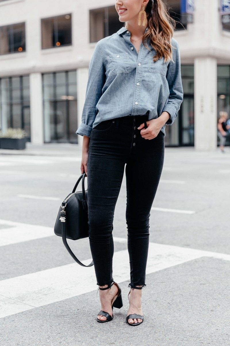 XXX | fall work outfits, casual fall work outfit, fall work outfits jeans, trendy fall work outfits, fall outfit idea, fall outfit inspo, givenchy antigona, chambray shirt outfit | 5 Easy Fall Work Outfits featured by popular Dallas fashion blogger, Never Without Lipstick