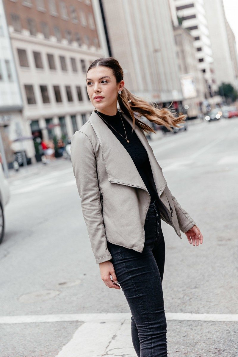 XXX | chic work outfit, fall outfit, chic outfit idea, street style outfit, faux leather jacket outfit | Thoughts on life after college shared by popular Dallas life and style blogger, Never Without Lipstick