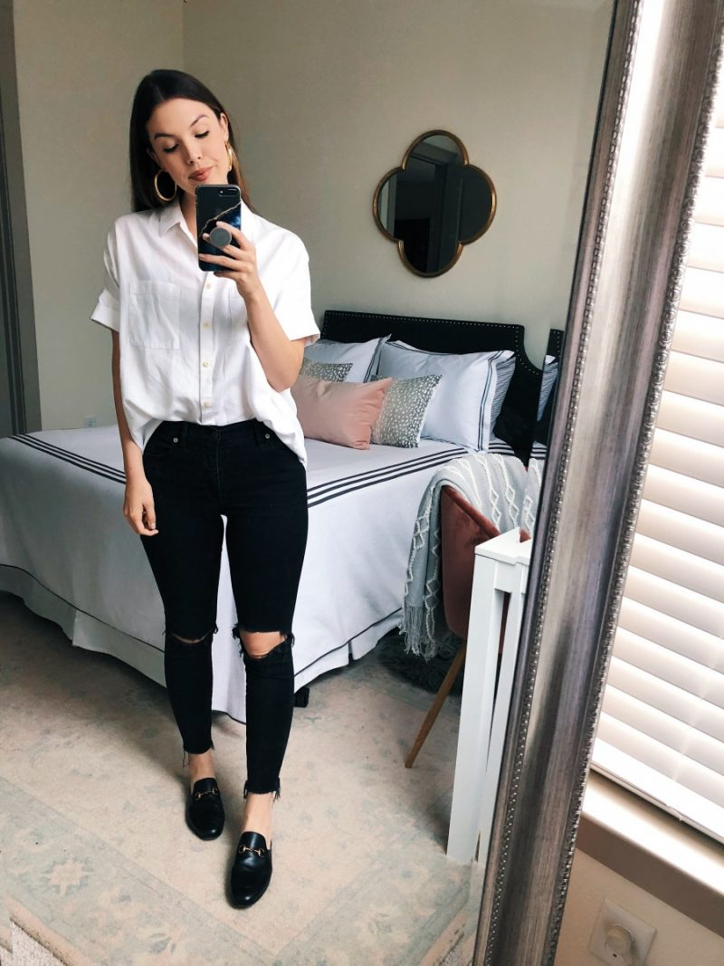 summer to fall transition outfits, fall outfit ideas, casual fall outfit, fall transition outfits, fall transition outfits for work | Summer to Fall Outfits featured by popular Dallas fashion blogger, Never Without Lipstick: Short Sleeve Button Down & Denim