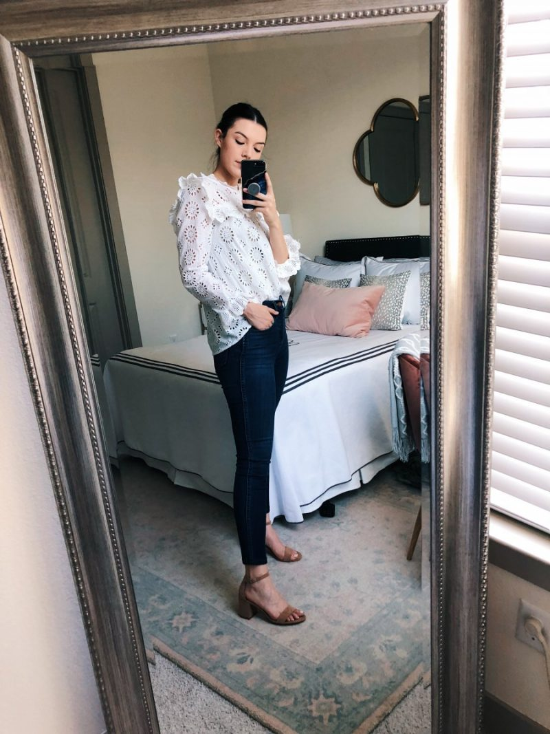 summer to fall transition outfits, fall outfit ideas, casual fall outfit, fall transition outfits, fall transition outfits for work  | Summer to Fall Outfits featured by popular Dallas fashion blogger, Never Without Lipstick: Eyelet + Denim