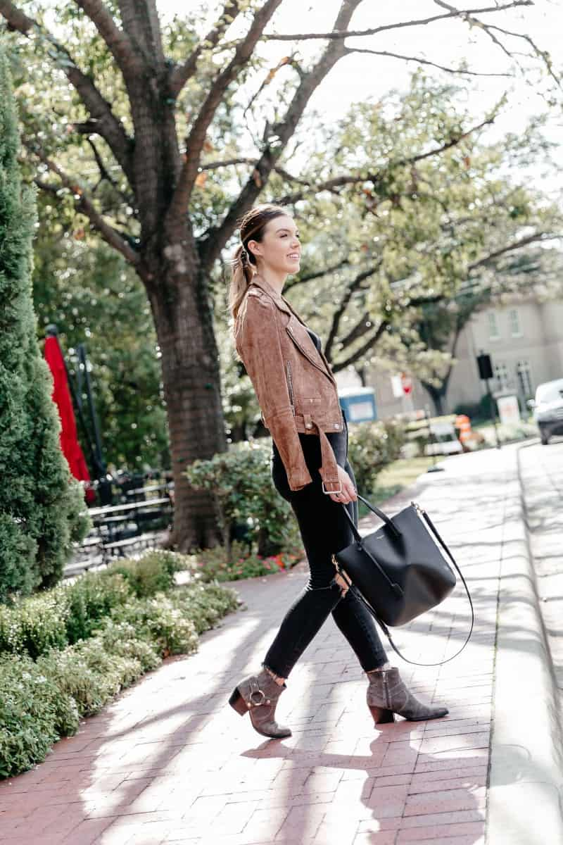 fall booties, fall boots ankle, fall boots, fall boots outfit, suede moto jacket, ysl toy shopping tote | Versatile Fall Boots featured by top Dallas fashion blog, Never Without Lipstick: Marc Fisher Booties