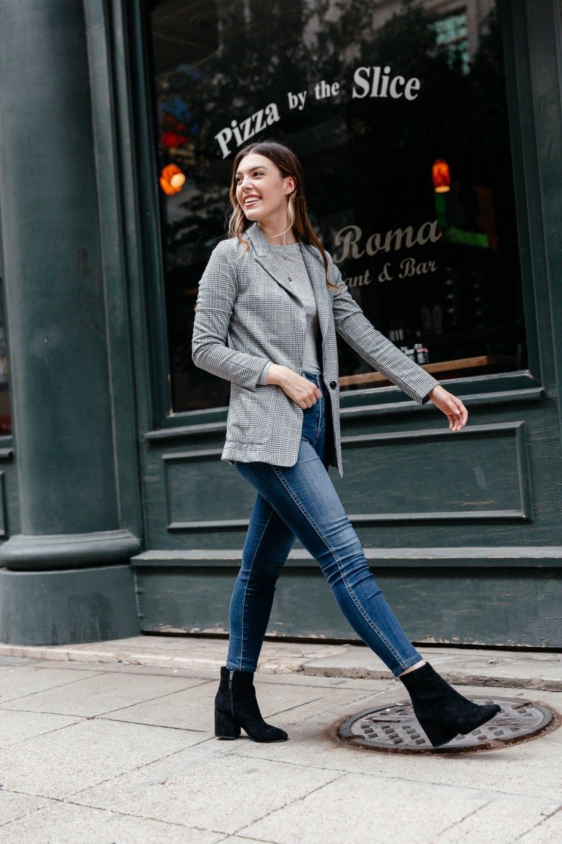 Popular Dallas style blogger Never Without Lipstick shares her fall essentials shopping list for fall 2018 | fall shopping list, fall outfit, plaid blazer outfit, block heel booties outfit, madewell jeans, fall outfits 2018, classy fall outfits