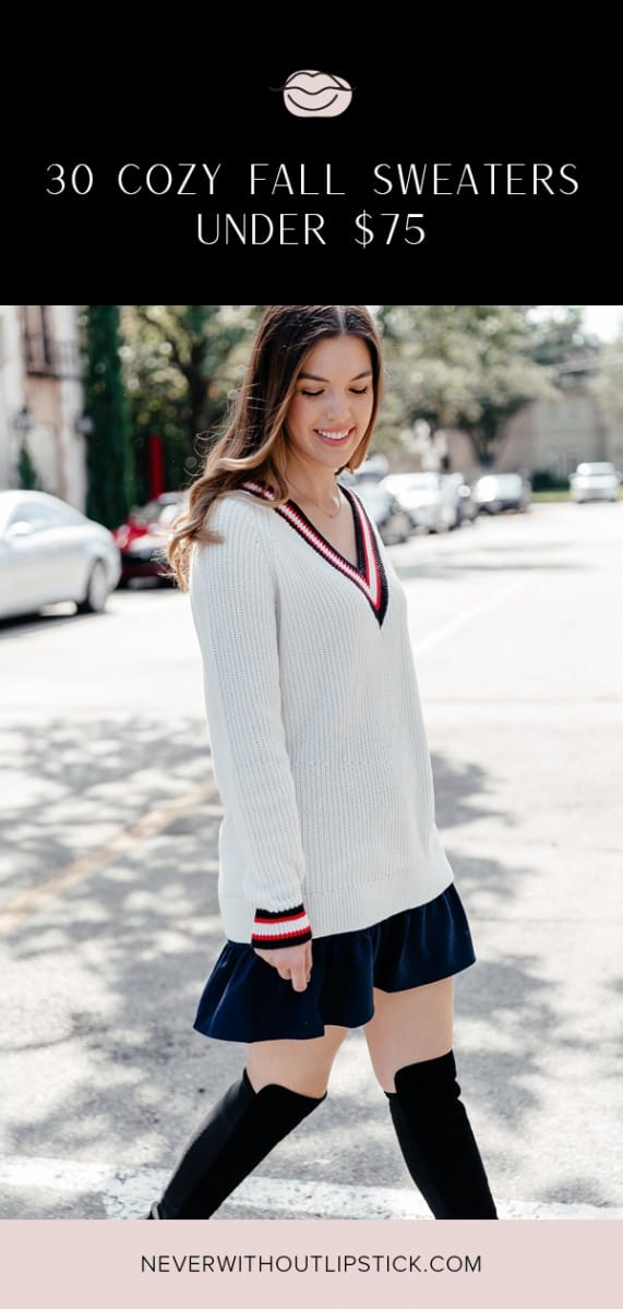 sweaters, sweater weather, fall sweaters 2018, stuart weitzman reserve boot, stuart weitzman boot outfit, varsity sweater, tennis sweater, cozy sweaters, sweater outfit, fall sweaters outfit, sweater skirt outfit, over the knee boot outfit | Cozy Fall Sweaters under $75 featured by top Dallas fashion blog, Never Without Lipstick