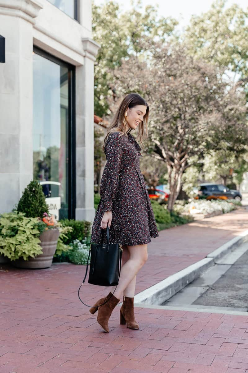 Top Dallas Fashion blog, Never Without LIpstick is sharing all the insane steals and deals with these Cyber Week Fashion Deals Online she features | madewell balsam tie neck dress, madewell dress, fall dress, fall dress outfit, joie lara bootie, YSL toy tote bag, fall dress with booties, fall dress with boots | The Best Cyber Week Deals: 15 Outfits on Sale featured by top Dallas fashion blog, Never Without Lipstick