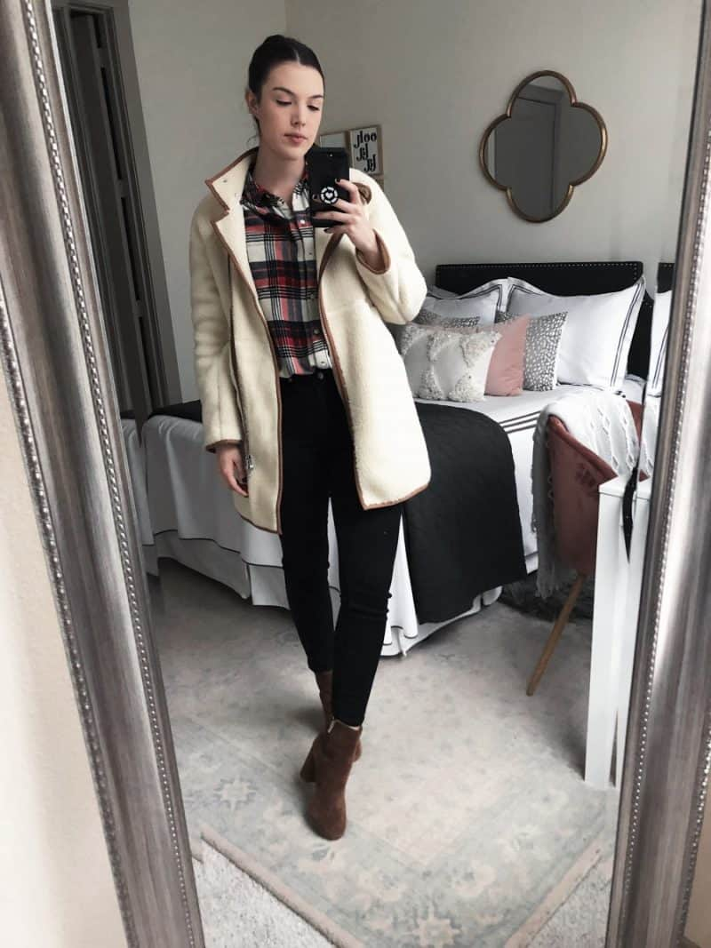 Top Dallas Fashion blog, Never Without LIpstick is sharing all the insane steals and deals with these Cyber Week Fashion Deals Online she features | madewell sherpa cocoon coat, sherpa coat outfit, winter coat outfit, joie lara boots, flannel outfit winter | The Best Cyber Week Deals: 15 Outfits on Sale featured by top Dallas fashion blog, Never Without Lipstick
