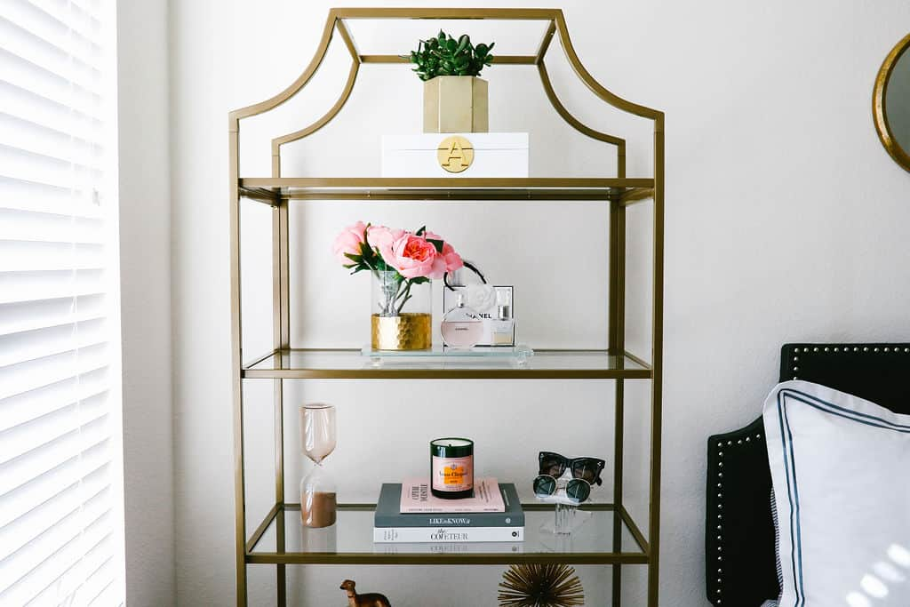blush pink apartment, apartment bedroom decor, target, bookshelf decor, golden etagere shelf, apartment decorating on a budget, first apartment decorating  | Blush pink and grey home decor featured by top Dallas life and style blog, Never Without Lipstick