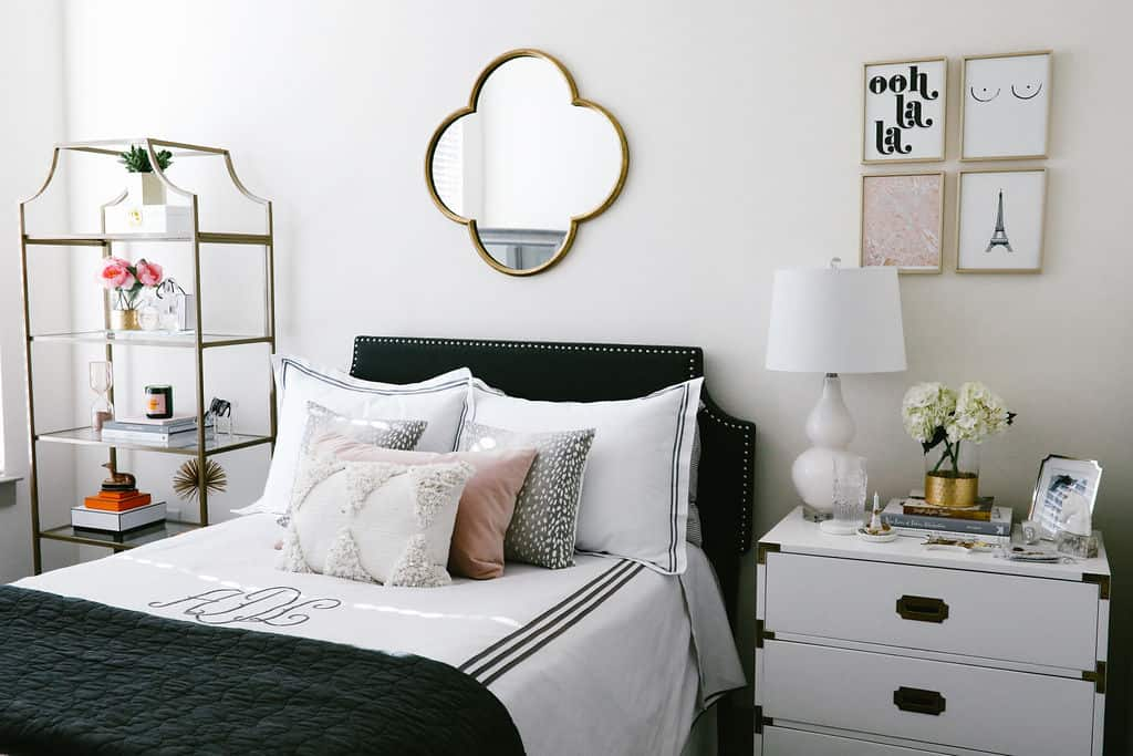 blush pink apartment, apartment bedroom decor, nightstand decor, apartment decorating on a budget, first apartment decorating