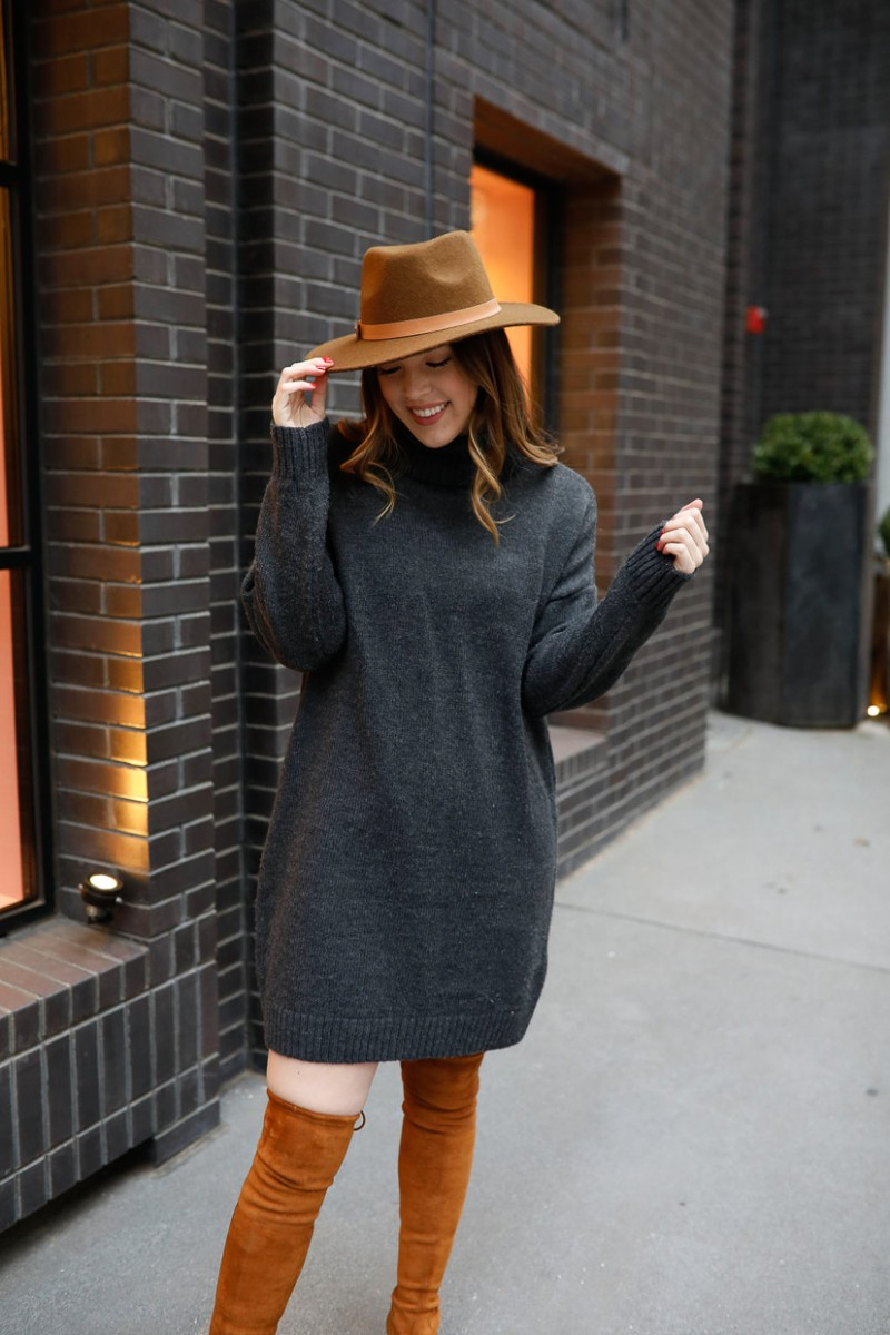 work to weekend, turtleneck sweater dress, over the knee boots outfit, stuart weitzman lowland dupe, casual winter outfits, winter outfit ideas, womens fashion, womens style | Work to weekend clothing for winter featured by top US fashion blog, Never Without Lipstick: image of a woman wearing a TOPSHOP sweater dress, Kaitlyn Pan over the knees suede boots, and a Universal Thread suede Panama hat