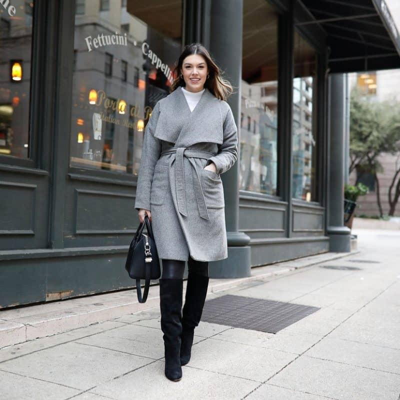 work to weekend clothing, winter outfit, winter work outfit, wrap coat outfit, spanx faux leather leggings, knee high boots outfit, givenchy antigona | Work to weekend clothing for winter featured by top US fashion blog, Never Without Lipstick: image of a woman wearing a French Connection sweater, SPANX faux leather leggings, wool wrap coat, Sam Edelman knee high boots, Givenchy leather tote, Amazon hoop earrings