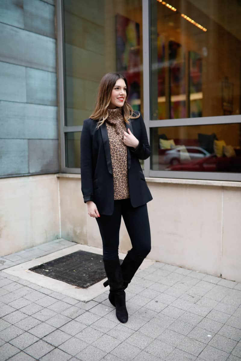 work to weekend clothing, winter work outfit, casual winter work outfit, leopard sweater, winter work outfit boots | Work to weekend clothing for winter featured by top US fashion blog, Never Without Lipstick: image of a woman wearing a Who What Wear leopard turtleneck, SPANX leggings, MURAL boyfriend blazer, Sam Edelman knee high boots, Givenchy leather tote, Amazon hoop earrings