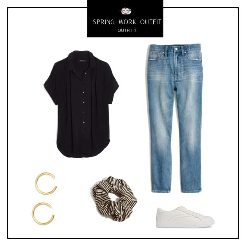 spring work outfit idea, casual spring work outfit, jeans work outfit