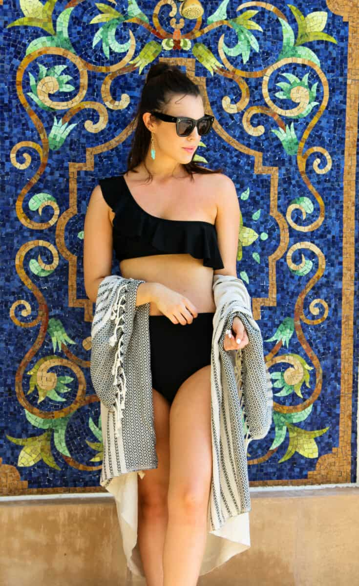 Top US fashion blog Never Without Lipstick shares her must-have summer essentials| one shoulder bikini, high waist bikini