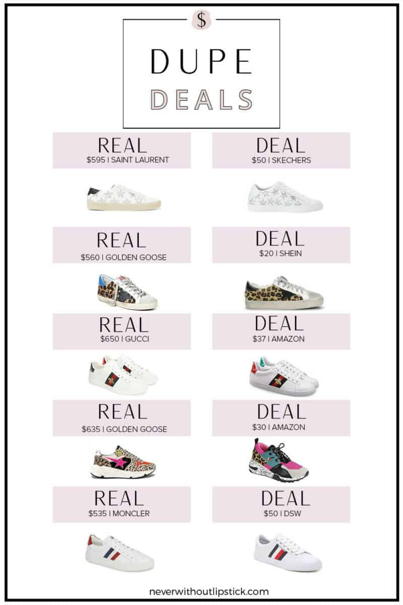 Best Designer Sneaker Dupes featured by top US fashion blog, Never Without Lipstick | golden goose dupes, gucci sneaker dupes, designer sneakers, golden goose lookalikes, amazon dupes, amazon finds