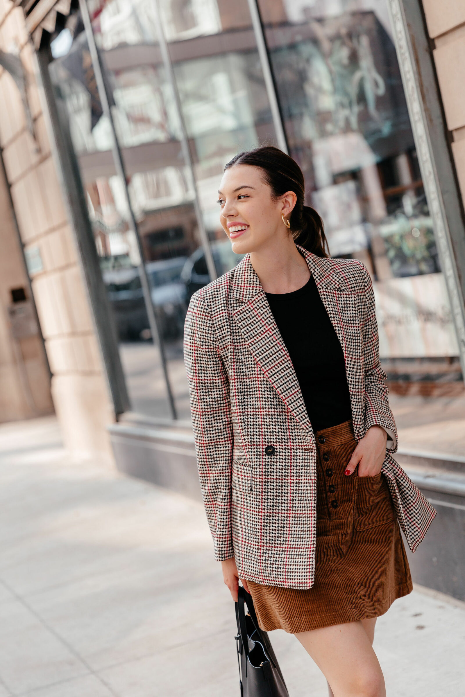 Dallas style blogger Never Without Lipstick shares her top 10 list of must-have fall essentials for this fall season - click to read! | fall 2019 trends, fall must have, corduroy skirt outfit, plaid blazer outfit, fall work outfit