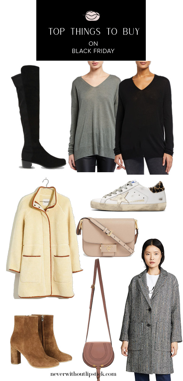 Shop with a plan and save more with Never Without Lipstick's list of the top # things to buy on Black Friday. Read what they are here! | Top Things to Buy on Black Friday by popular life and style blog, Never Without Lipstick: collage image of Golden Goose sneakers, cross body bags, knee high boots, jackets, and v-neck shirts.