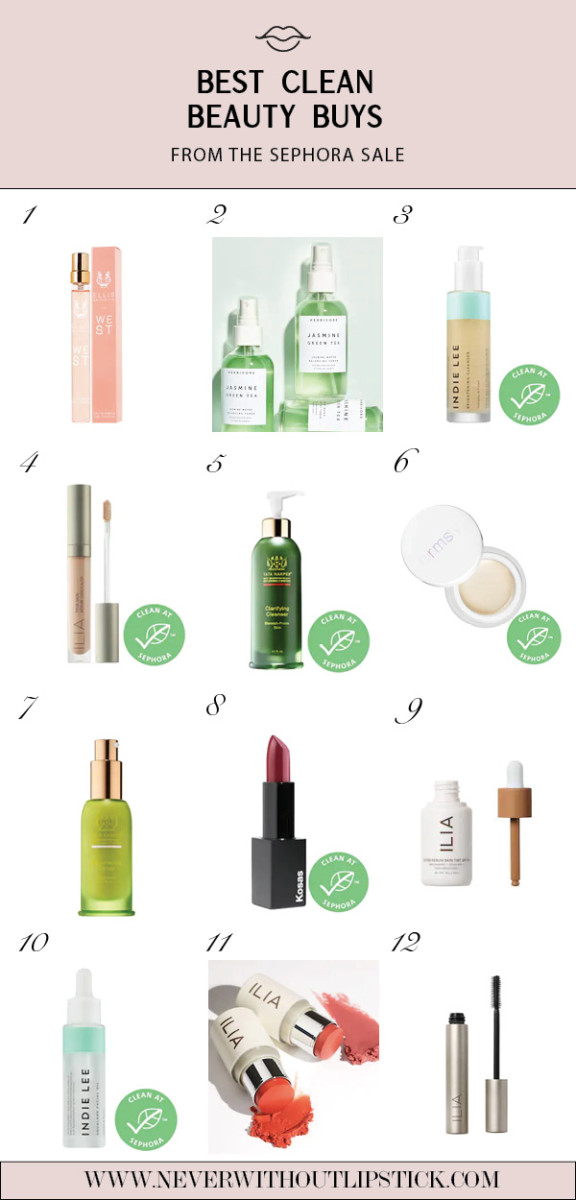 Sephora Favorites: 12 Best Clean Beauty Buys from the Latest Sephora Sale featured by top Dallas beauty blog, Never Without Lipstick | Sephora Spring Sale by popular Dallas beauty blog, Never Without Lipstick: collage image of Sephora Ilia Super Serum Skin Tint Foundation, Sephora Indie Lee Brightening Cleanser, Sephora Ellis Brooklyn Perfume, Sephora Ilia Multi-Stick, and Sephora Kosas Lipstick.