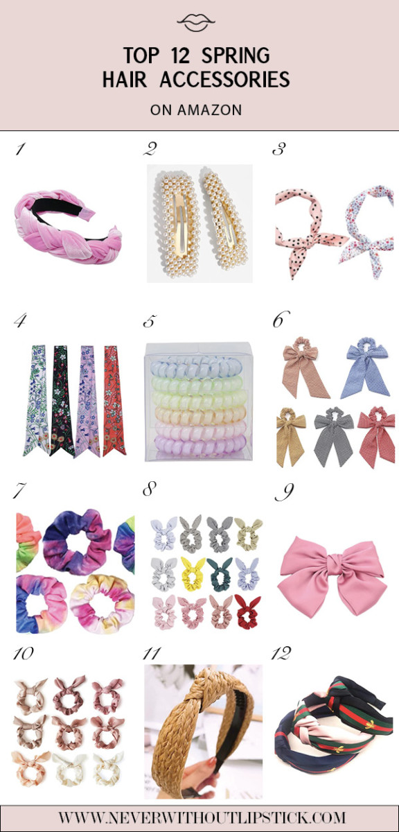 Amazon Hair Accessories for Spring featured by top Dallas fashion blog, Never Without Lipstick | Women's Hair Accessories by popular Dallas fashion blog, Never Without Lipstick: collage image of a Amazon pink braided headband, Amazon tie dye scrunchies, Amazon pearl clips, Amazon pink bow, Amazon bow scrunchies, Amazon floral hair ties, Amazon La Pink Paris knot headbands, Amazon knotted straw headband, Amazon Mara Maxwell Women's Bandana Neckerchief Neck Scarves for Head, and Amazon SHUGOS - Spiral Hair Ties.