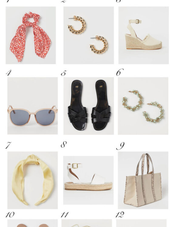 H&M Summer by popular Dallas fashion blog, Never Without Lipstick: collage image of H&M shoes, sunglasses, headbands, purses, and earrings.