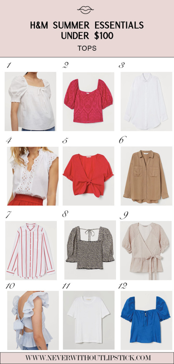 H&M Summer by popular Dallas fashion blog, Never Without Lipstick: collage image of H&M tops.