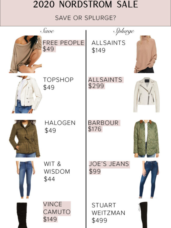 Nordstrom Anniversary Sale by popular Dallas fashion blog, Never Without Lipstick: collage image of a Free People Sweater, AllSaints camel color turtle neck sweater, TopShop white leather jacket, AllSaints white leather jacket, Halogen green jacket, Barbour quilted green jacket, Wit and Wisdom jeans, Joe's Jeans, Vince Camuto black boots, and Stuart Weitzman black knee high boots.
